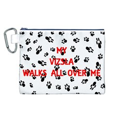 My Vizsla Walks On Me  Canvas Cosmetic Bag (L)