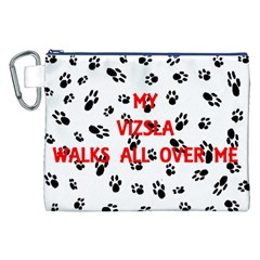 My Vizsla Walks On Me  Canvas Cosmetic Bag (XXL)