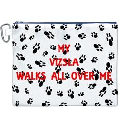 My Vizsla Walks On Me  Canvas Cosmetic Bag (XXXL)