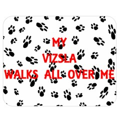 My Vizsla Walks On Me  Double Sided Flano Blanket (Medium)