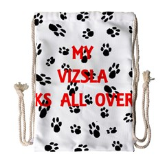 My Vizsla Walks On Me  Drawstring Bag (Large)