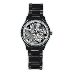 Mosaic Stones Glass Pattern Stainless Steel Round Watch