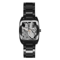 Mosaic Stones Glass Pattern Stainless Steel Barrel Watch