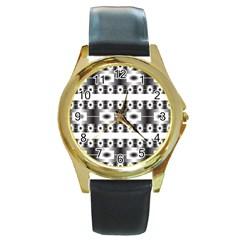 Pattern Background Texture Black Round Gold Metal Watch