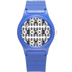 Pattern Background Texture Black Round Plastic Sport Watch (S)