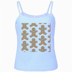 Pattern Christmas Biscuits Pastries Baby Blue Spaghetti Tank
