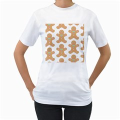 Pattern Christmas Biscuits Pastries Women s T-Shirt (White) (Two Sided)