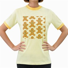 Pattern Christmas Biscuits Pastries Women s Fitted Ringer T-Shirts
