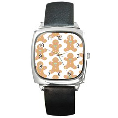 Pattern Christmas Biscuits Pastries Square Metal Watch