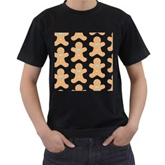 Pattern Christmas Biscuits Pastries Men s T-Shirt (Black) (Two Sided)