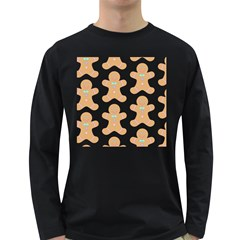 Pattern Christmas Biscuits Pastries Long Sleeve Dark T-Shirts
