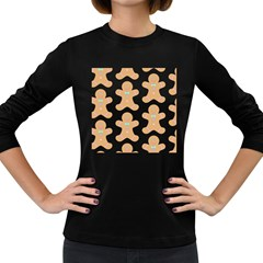 Pattern Christmas Biscuits Pastries Women s Long Sleeve Dark T-Shirts