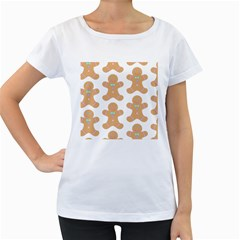 Pattern Christmas Biscuits Pastries Women s Loose-Fit T-Shirt (White)