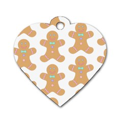 Pattern Christmas Biscuits Pastries Dog Tag Heart (One Side)