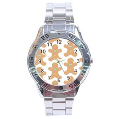 Pattern Christmas Biscuits Pastries Stainless Steel Analogue Watch