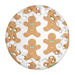 Pattern Christmas Biscuits Pastries Ornament (Round Filigree)