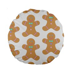 Pattern Christmas Biscuits Pastries Standard 15  Premium Round Cushions