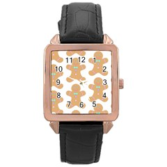 Pattern Christmas Biscuits Pastries Rose Gold Leather Watch
