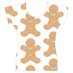Pattern Christmas Biscuits Pastries Women s Cap Sleeve Top