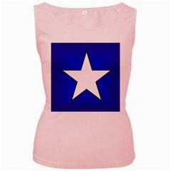 Star Background Tile Symbol Logo Women s Pink Tank Top