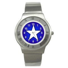 Star Background Tile Symbol Logo Stainless Steel Watch