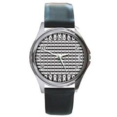 Pattern Background Texture Black Round Metal Watch