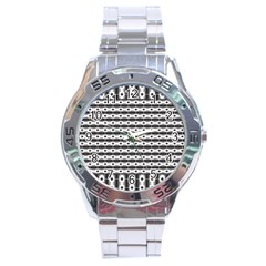 Pattern Background Texture Black Stainless Steel Analogue Watch