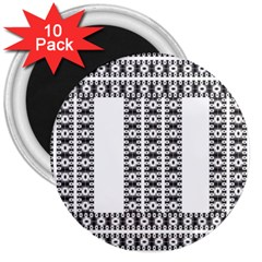 Pattern Background Texture Black 3  Magnets (10 pack)