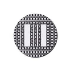 Pattern Background Texture Black Rubber Coaster (Round)