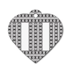 Pattern Background Texture Black Dog Tag Heart (Two Sides)
