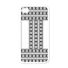 Pattern Background Texture Black Apple iPhone 4 Case (White)
