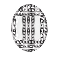 Pattern Background Texture Black Oval Filigree Ornament (2-Side)