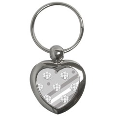 Stripes Pattern Background Design Key Chains (Heart)