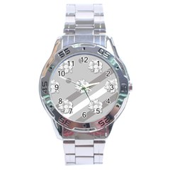 Stripes Pattern Background Design Stainless Steel Analogue Watch