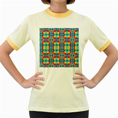 Pop Art Abstract Design Pattern Women s Fitted Ringer T-Shirts