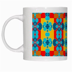 Pop Art Abstract Design Pattern White Mugs