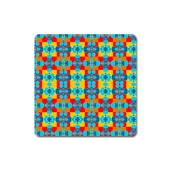Pop Art Abstract Design Pattern Square Magnet