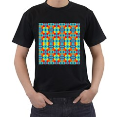 Pop Art Abstract Design Pattern Men s T-Shirt (Black) (Two Sided)