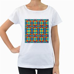 Pop Art Abstract Design Pattern Women s Loose-Fit T-Shirt (White)