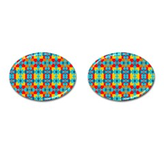 Pop Art Abstract Design Pattern Cufflinks (Oval)