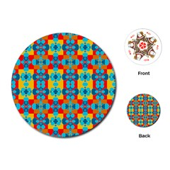 Pop Art Abstract Design Pattern Playing Cards (Round)