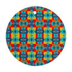 Pop Art Abstract Design Pattern Round Ornament (Two Sides)