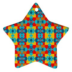 Pop Art Abstract Design Pattern Star Ornament (Two Sides)