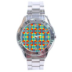 Pop Art Abstract Design Pattern Stainless Steel Analogue Watch
