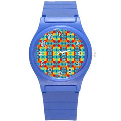 Pop Art Abstract Design Pattern Round Plastic Sport Watch (S)