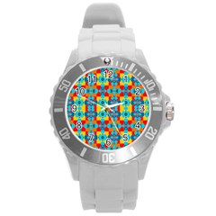 Pop Art Abstract Design Pattern Round Plastic Sport Watch (L)