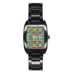 Pop Art Abstract Design Pattern Stainless Steel Barrel Watch