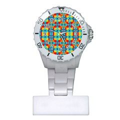 Pop Art Abstract Design Pattern Plastic Nurses Watch