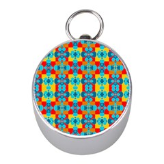Pop Art Abstract Design Pattern Mini Silver Compasses