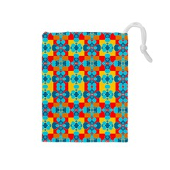 Pop Art Abstract Design Pattern Drawstring Pouches (Medium)